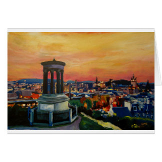 Edinburgh Scotland Skylineat Dusk Card