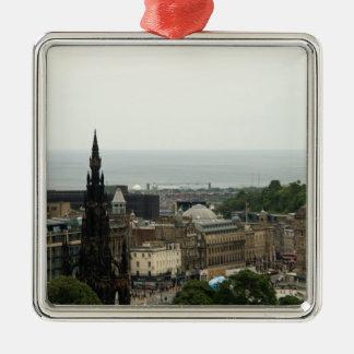 Edinburgh Skyline 001 Metal Ornament