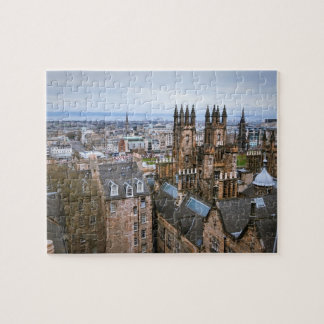 Edinburgh skyline from roof top, areal view, Edinb Puzzle