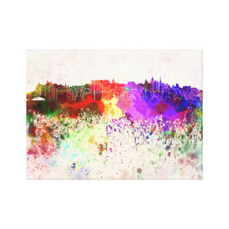 Edinburgh skyline in watercolor background canvas print