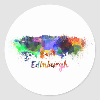 Edinburgh skyline in watercolor classic round sticker