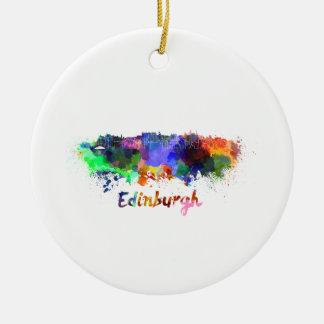 Edinburgh skyline in watercolor round ceramic ornament