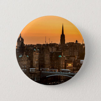 Edinburgh Skyline Sundown 2 Inch Round Button