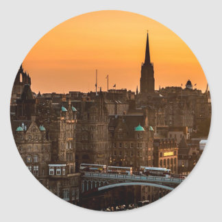 Edinburgh Skyline Sundown Classic Round Sticker