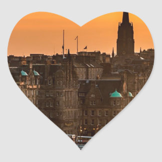 Edinburgh Skyline Sundown Heart Sticker