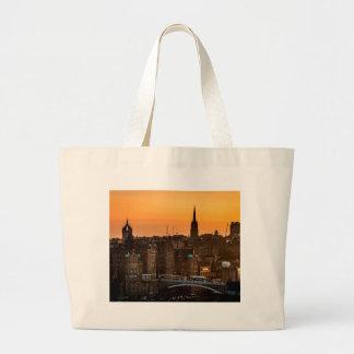 Edinburgh Skyline Sundown Large Tote Bag