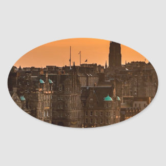 Edinburgh Skyline Sundown Oval Sticker