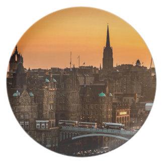 Edinburgh Skyline Sundown Plate