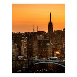 Edinburgh Skyline Sundown Postcard