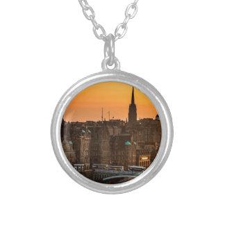 Edinburgh Skyline Sundown Silver Plated Necklace