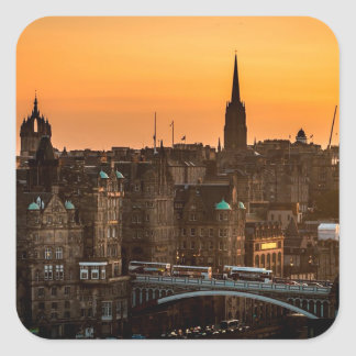 Edinburgh Skyline Sundown Square Sticker