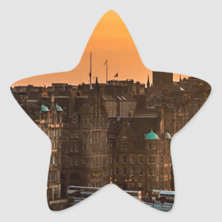 Edinburgh Skyline Sundown Star Sticker