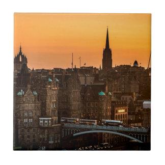 Edinburgh Skyline Sundown Tile