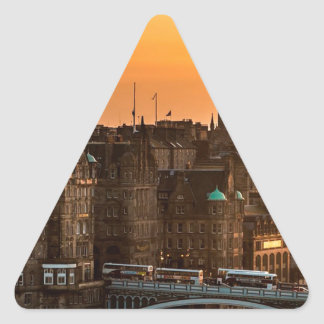 Edinburgh Skyline Sundown Triangle Sticker