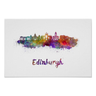 Edinburgh V2 skyline in watercolor Poster