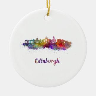 Edinburgh V2 skyline in watercolor Round Ceramic Ornament