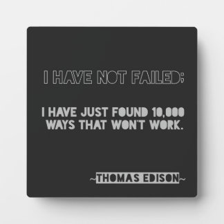 Edison 10,000 ways Encouragement Typography Quote Plaque