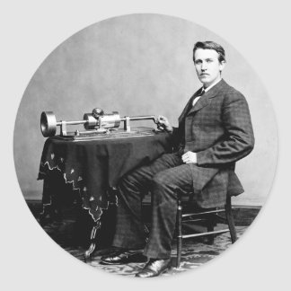 Edison and His Phonograph 1887 Round Sticker