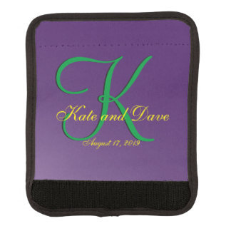 Editable 3d Monogram Purple Mauve Template Luggage Handle Wrap