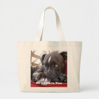 Editable Baby Pitbull Puppies Large Tote Bag