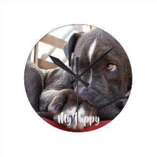 Editable Baby Pitbull Puppies Round Clock
