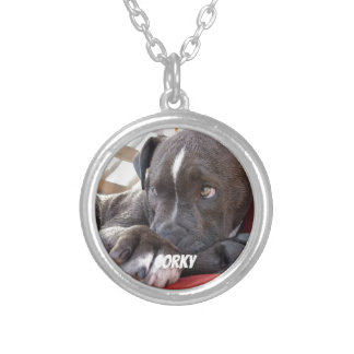 Editable Baby Pitbull Puppies Silver Plated Necklace
