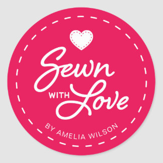 EDITABLE Background Color Stylish Sewn with Love Classic Round Sticker