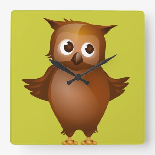 Editable Background - Cute Brown Owl Wall Clock
