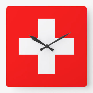 Editable Background, The Flag of Switzerland Wallclocks