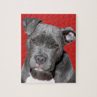 Editable Black Pitbull Jigsaw Puzzle