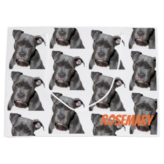 Editable Black Pitbull Large Gift Bag