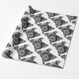 Editable Black Pitbull Wrapping Paper