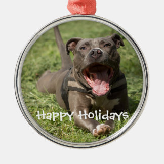 Editable Brown Pitbull In Grass Metal Ornament