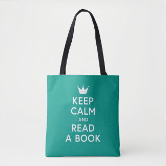 Editable Color Bookish Keep Calm and Read a Book Tote Bag