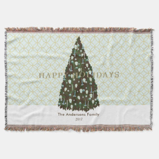 Editable Color Gold Christmas Tree Throw Blanket
