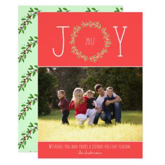 EDITABLE Color Joy Wreath Modern Christmas Photo Card