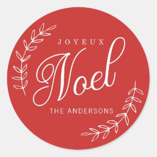 EDITABLE Color Joyeux Noel Christmas Classic Round Sticker