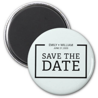 Editable Color Minimalist Black Save the Date 2 Inch Round Magnet