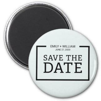 Editable Color Minimalist Black Save the Date Magnet