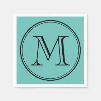 Editable Color Modern Classic Round Black Monogram Paper Napkins
