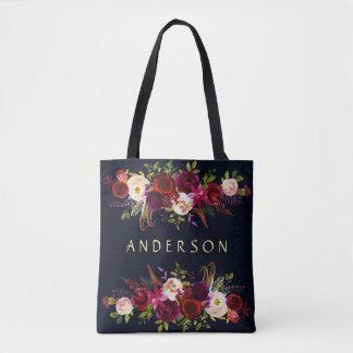 EDITABLE COLOR Navy Burgundy Rustic Boho Floral Tote Bag