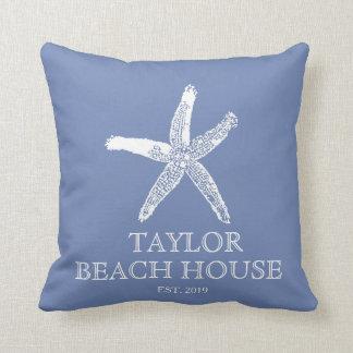 Editable Colour Blue Starfish Beach House Pillow