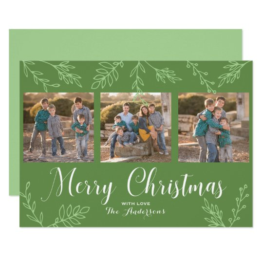 EDITABLE Colour Hand Drawn Leaves Christmas Photo Card