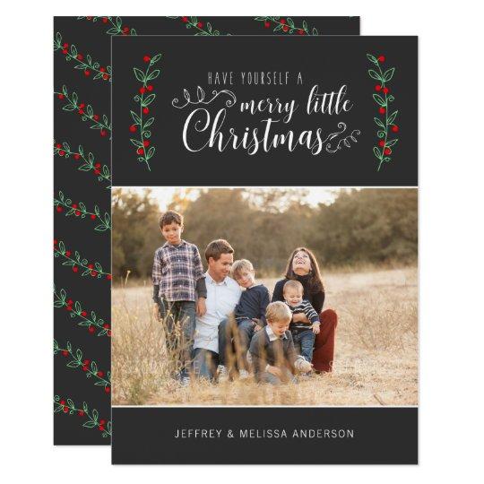 EDITABLE Colour Merry Berry Christmas Photo Card