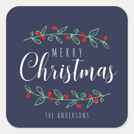 EDITABLE Colour Merry Berry Christmas Square Sticker