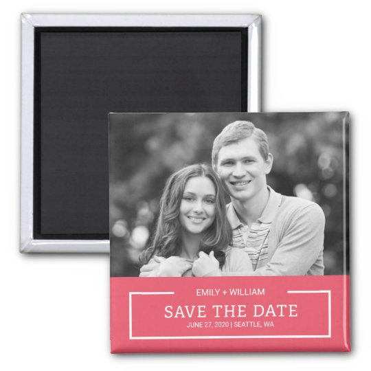 Editable Colour Minimalist Save the Date Photo Square Magnet