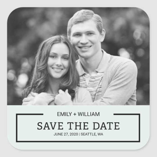 Editable Colour Modern Black Save the Date Photo Square Sticker