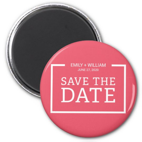 Editable Colour Modern Minimalist Save the Date 2 Inch Round Magnet