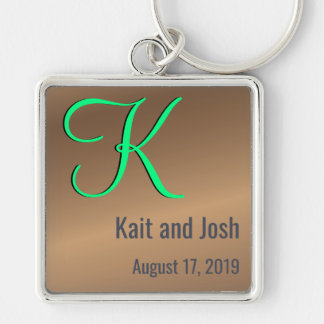 Editable Couples Monogram Trendy Bronze Pecan Keychain