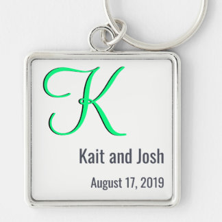 Editable Couples Monogram Trendy Minimalism White Silver-Colored Square Keychain